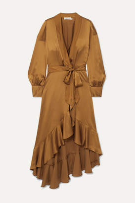 Zimmermann Espionage Asymmetric Ruffled Silk-satin Wrap Dress - Bronze