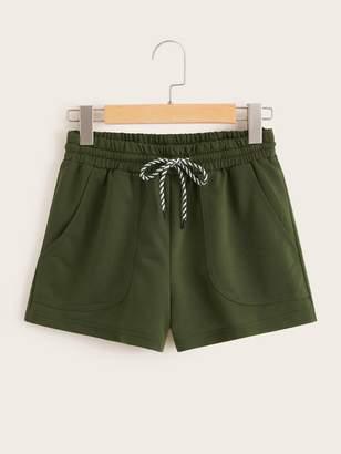 Shein Pocket Patch Drawstring Waist Track Shorts