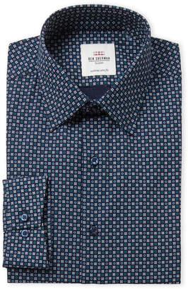 Ben Sherman Teal Floral Print Slim Fit Dress Shirt