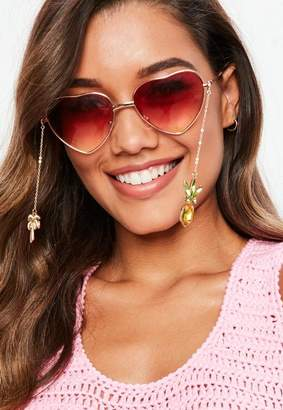 Missguided Gold Sunglasses Tropical Charm