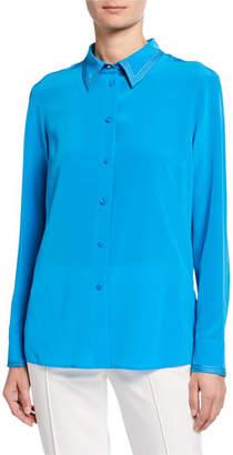 Escada Stitched Georgette Button-Front Blouse