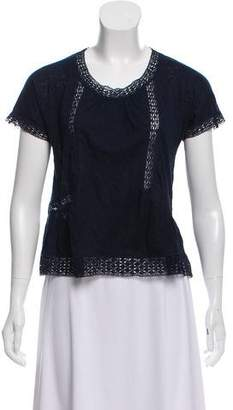 Rebecca Taylor Lace-Accented Short Sleeve Top