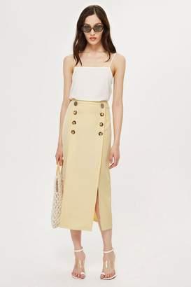 Topshop Contrast Button Split Midi Skirt