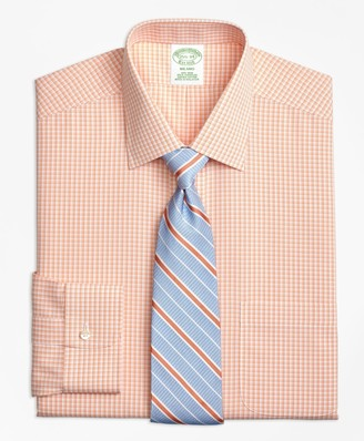 Brooks Brothers Milano Slim-Fit Dress Shirt, Non-Iron Tonal Sidewheeler Check