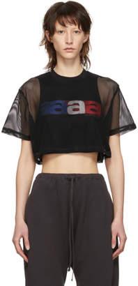 Alexander Wang Black Crop Printed Mesh T-Shirt