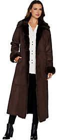 Dennis Basso Full Length Faux Shearling Coat -Petite