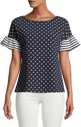 Casual Couture Striped-Flutter Sleeve Polka-Dot Blouse