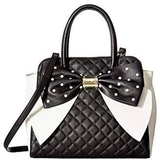 Betsey Johnson satchel oversized bow black sequins