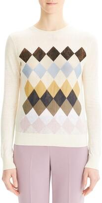 Theory Diamond Pattern Linen Blend Sweater