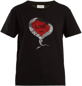 Saint Laurent Snake and heart-print cotton jersey T-shirt