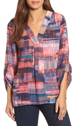 Women's Chaus Colorful Canvas Roll Sleeve Blouse $69 thestylecure.com