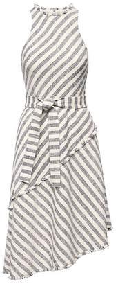 Banana Republic Petite Tweed Stripe Asymmetrical-Hem Dress