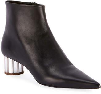 Proenza Schouler Leather Pointed Mirror-Heel Booties, Black