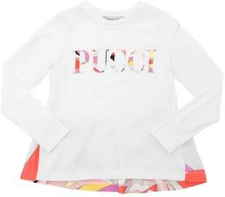 Emilio Pucci Logo Patches Cotton Jersey T-Shirt