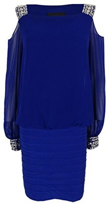 Betsy & Adam Women's Open Shoulder Blouson Banded Dress with Beading $89.17 thestylecure.com