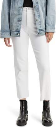 Levi's Wedgie High Waist Frayed Crop Straight Leg Jeans