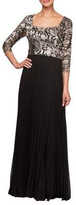 Alex Evenings Pleats & Embroidery A-Line Dress