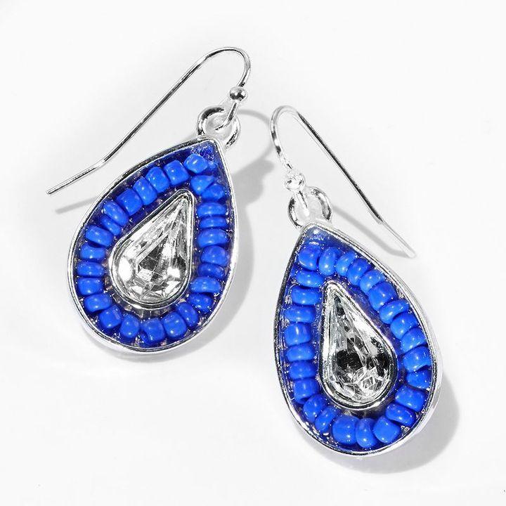 Vera Wang Princess tone simulated crystal and bead teardrop earrings