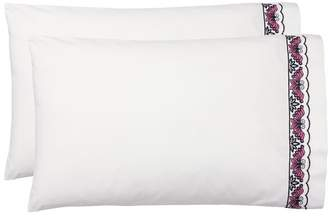 Pottery Barn Teen Anna Sui Embroidered Butterfly Sateen Sheet Set, Extra Pillowcases, Set of 2, Ivory Multi