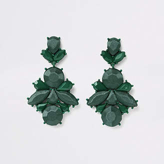 River Island Womens Dark Green satin jewel drop earrings