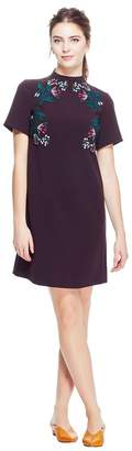 Lela Rose Stretch Canvas Embroidered Funnel Neck Tunic Dress