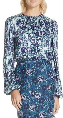 AMUR Gwen Floral Print Blouse