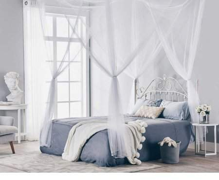 Wantyou 4 Corner Post Bed Canopy Mosquito Net Full Queen King Size Netting Bedding Black