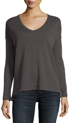 Majestic Cotton/Cashmere Long-Sleeve V-Neck Pullover Top