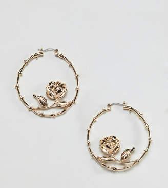 Reclaimed Vintage inspired rose hoop earrings