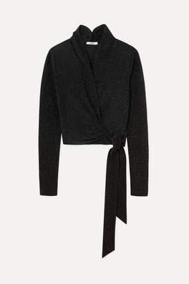 Ganni Baxter Metallic Stretch-knit Wrap Top - Black