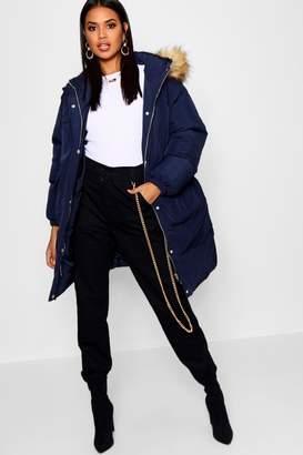 boohoo Longline Faux Fur Trim Hooded Puffer Coat