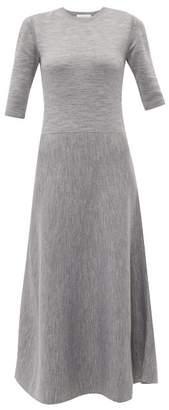 Gabriela Hearst Seymore Wool And Cashmere Blend Midi Dress - Womens - Light Grey