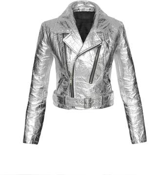 ALTIIR - Women's Neo-Classic Biker Jacket In Silver