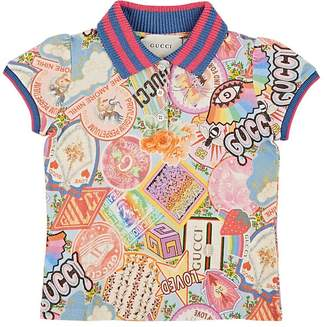 Gucci Kids' Sticker-Print Stretch-Cotton Piqué Polo Shirt