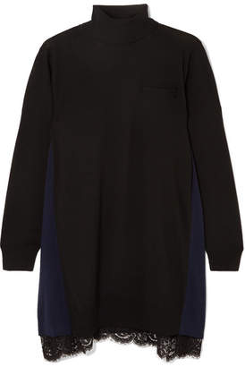 Sacai Lace-trimmed Wool Turtleneck Mini Dress - Black