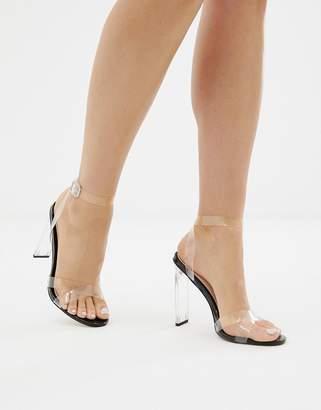 clear SIMMI Shoes Simmi London Jemima black detail sandals