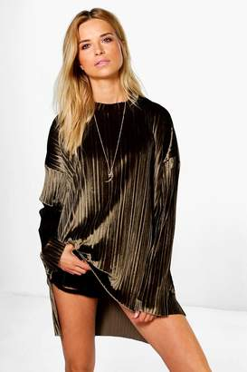 boohoo Cara Boutique Pleated Velvet Dip Back Tunic