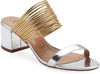 Aquazzura Rendez Vou Metallic Slide Sandals