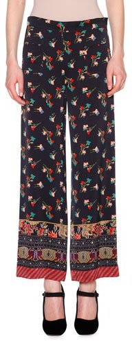 Etro Etro Floral Chinoiserie Cropped Pants, Black/Multi