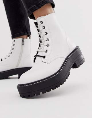 Stradivarius lace front chunky boots in white