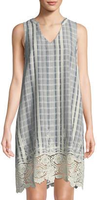 Neiman Marcus Cotton Plaid Swing Dress w/ Lace Hem & Pockets