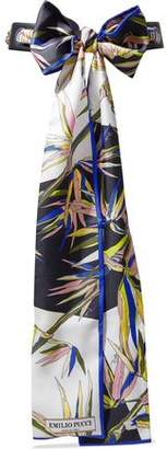 Emilio Pucci Leather And Printed Silk-Twill Belt