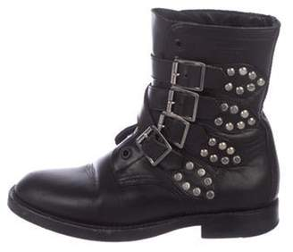 Saint Laurent Studded Leather Boots Black Studded Leather Boots