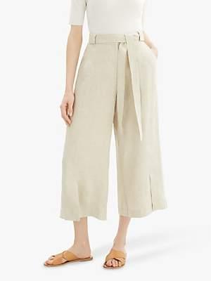 Jaeger Cross Dye Linen Cropped Wide Leg Trousers, Natural