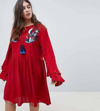 Asos Glamorous Curve Smock Dress With Tiered Sleeve And Embroidery