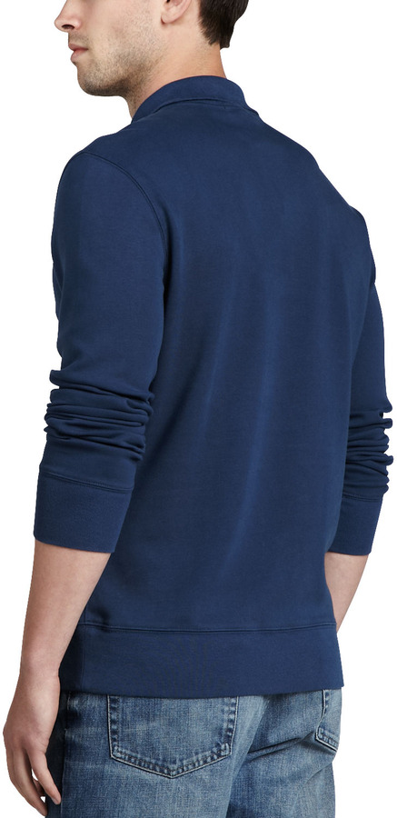 Burberry Half-Zip Cotton Pullover, Pale Indigo