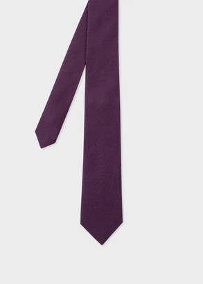 Paul Smith Men's Dark Purple Herringbone Pattern Narrow Silk Tie