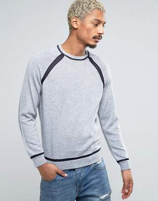 Asos Sweater with Contrast Mesh Raglan Sleeves and Hem