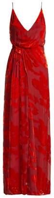 Galvan - Rose Devoré Velvet Dress - Womens - Red