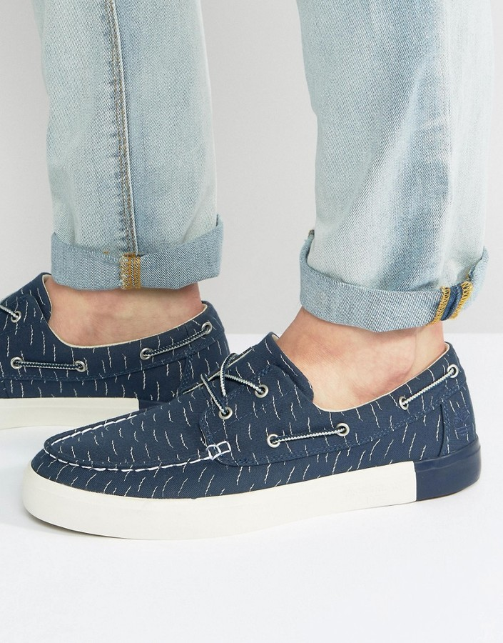Timberland Timberland Newport Bay Canvas Print Boat Shoes